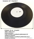 Vinylová deska 10 desítka, velikost, průměr desky, váha v gramech, čas - doba záznamu v minutách. RPM - otáčky desky.