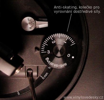 Anti-skating-antiskating-kolečko, vyrovnává působení dostředivé síly