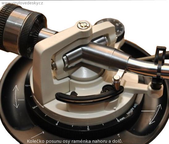 Kolečko na gramofonu pro nastavvení výšky a sklonu přenosky