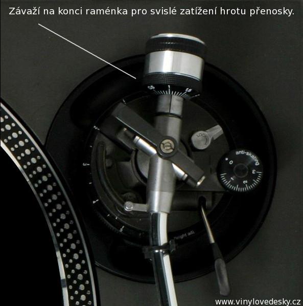 Svislé zatížení hrotu přenosky gramofonu. Závaží na vertikální vyvážení.