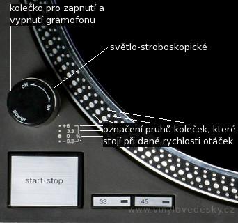 Stroboskop-otáčky kontrola rychlosti otáčení dle pohybu respektive zastavené řady zrcátek,rychlosti koleček-zrcátek, zapínání stroboskopického světla.