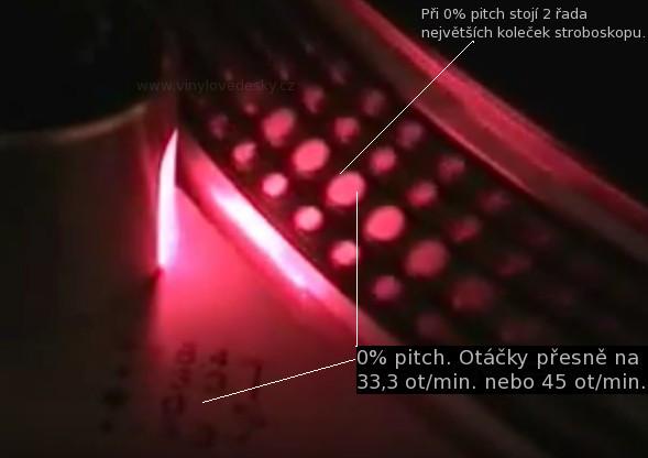DJ gramofony-stroboskop. Optická kontrola otáček pro DJ gramofony zrcátky na hraně talíře.