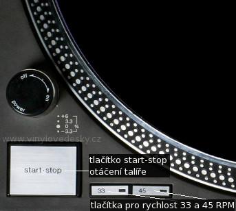 Tlačítko start-stop na DJ gramofonu. Tlačítka pro změnu rychlosti na 33,3 RPM a 45 RPM (otáček za minutu)