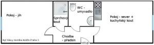 Plánek bytu Praha 5, Slávy Horníka 14, Košíře