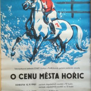plakát, jezdecké závody, dostihy, návrh Emil Kotrba, Cena města Hořic-Hořice-Podkrkonoší-1987.09.12-13-TJ START