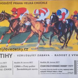 Plakát koní, dostihy - Praha, Velká Chuchle-1977, koně, Emil Kotrba