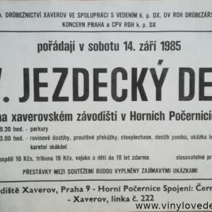Plakát, plakáty dostihy-parkur-lovecká jízda-karetní skákání-steeplechase, dostihy poníků, Praha-Horní Počernice-Xaverov-1985-koně, závody, dostih