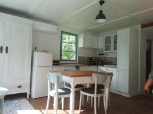 Kuchyň, výhled do zahrady. Lednice, klimatizace, kuchyňská linka, plotýnka - keramická deska, espresso, kávovar, rychlovarná konvice, boiler ve skříni, stůl, židle, gauč - rozkládací (lze i přespat). Chata k pronájmu u vody.