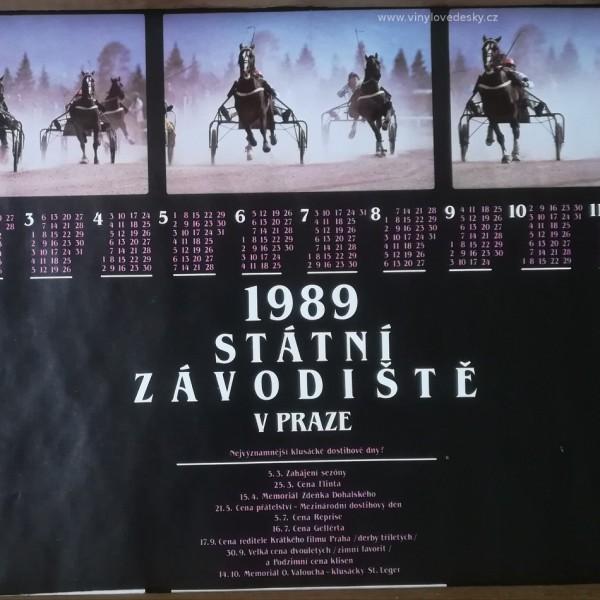 Plakát koní, kalendář 1989, klusácké dostihy